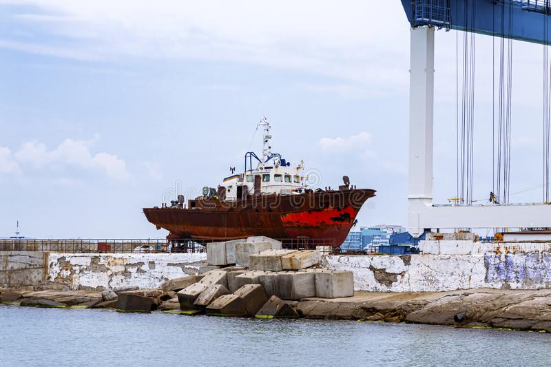 Anapa, Russia, 30.07.2019 Old ship is being prepared for repairs at the shipyard royalty free stock image
