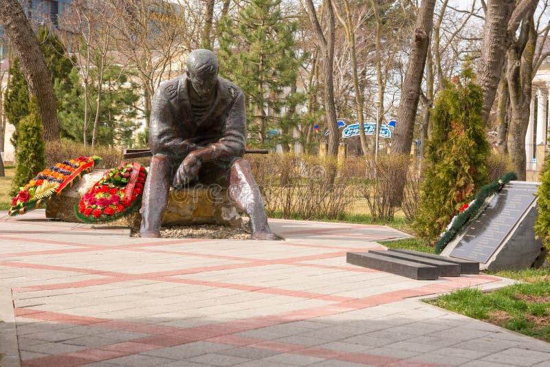 Anapa, Russie - 5 mars 2016 : Consacré commémoratif aux guerres des Afghans, dans le parc de mémoire et l'allée de la gloire dans photographie stock