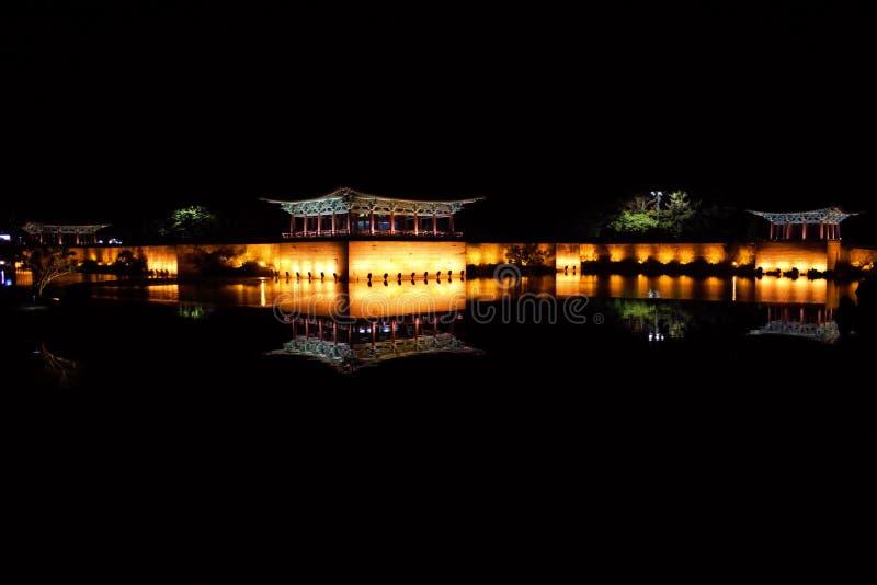 Anapji池塘,Wolji池塘在晚上,庆州,韩国 库存图片