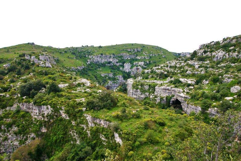 Anapovallei en Pantalica-reserve in Sicilië stock foto