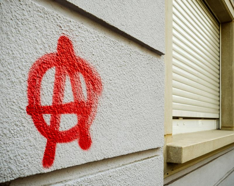 Anarchia graffiti na ścianie fotografia royalty free