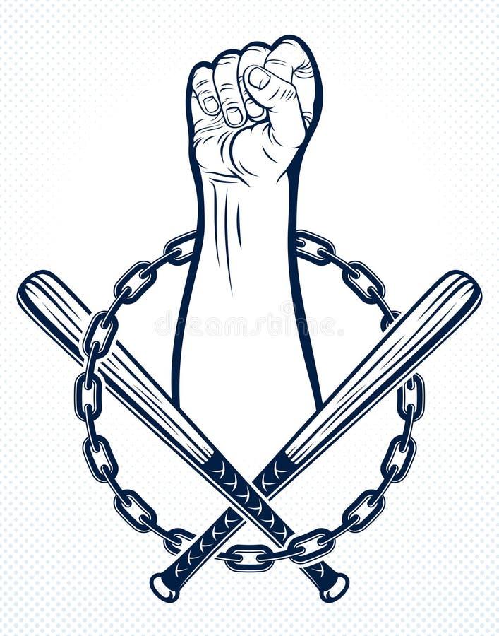 Anarchie et emblème agressif ou logo de chaos avec le poing serré fort, tatouage de style de cru de vecteur, partisan rebelle d'é illustration de vecteur