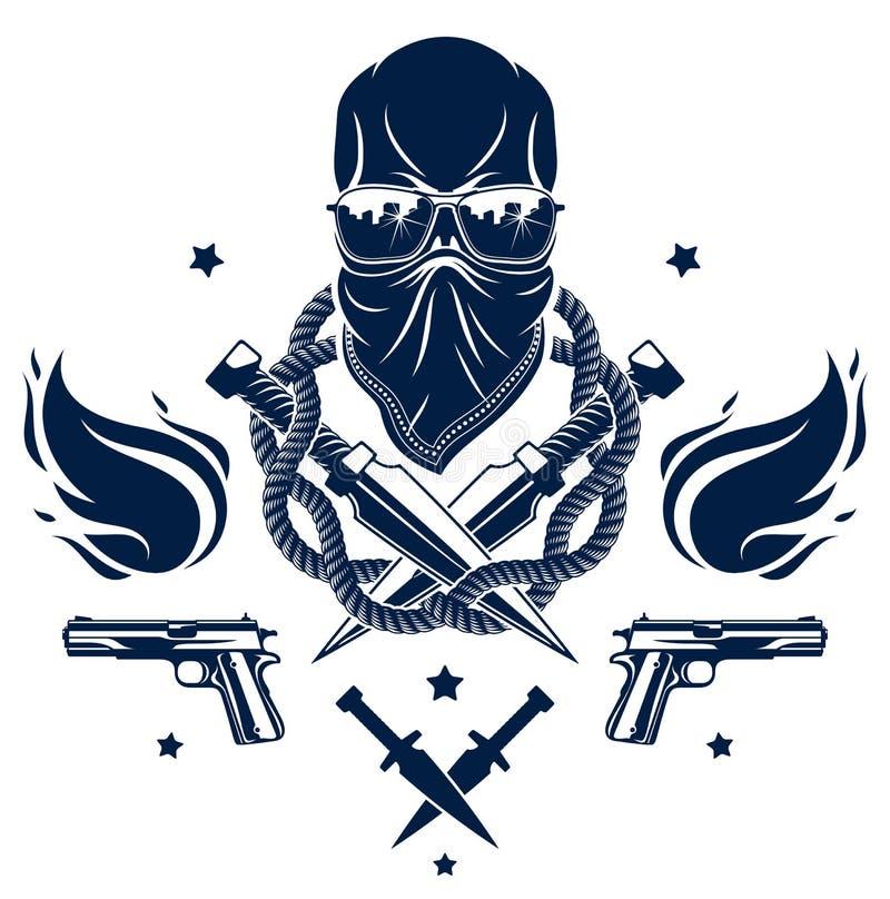Anarchie et embl?me agressif ou logo de chaos avec le cr?ne mauvais, les armes et les diff?rents ?l?ments de conception, tatouage illustration de vecteur
