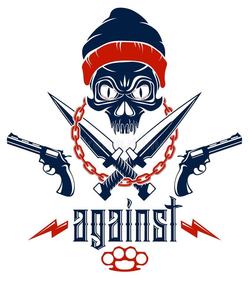 Anarchie et embl?me agressif ou logo de chaos avec le cr?ne mauvais, les armes et les diff?rents ?l?ments de conception, tatouage illustration libre de droits