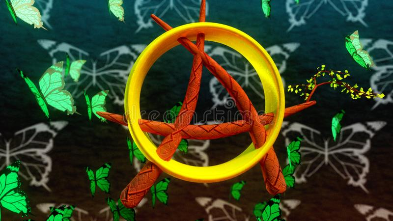 Anarchist ring butterfly stock photos