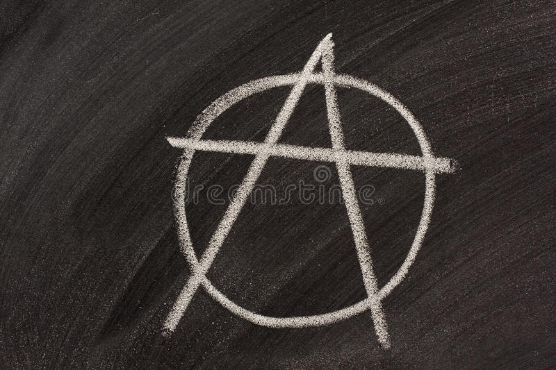 Anarchy symbol on a blackboard