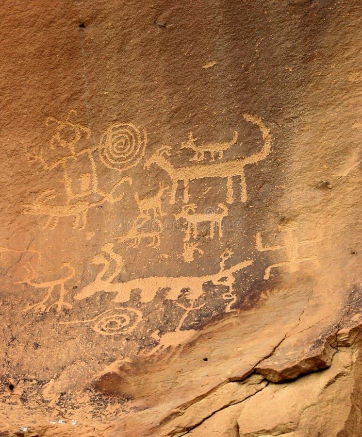 anasazi刻在岩石上的文字 免版税库存图片