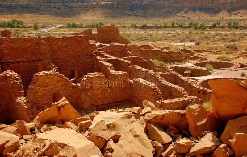 anasazi峡谷chaco废墟 库存图片