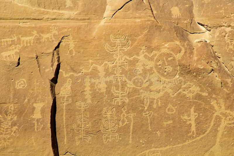 Anasazi-Ära-Petroglyphe-Platte stockbild