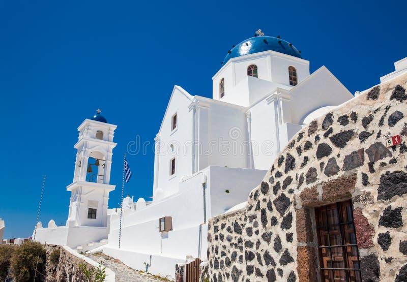 Anastasi Church located at Imerovigli on the Santorini Island in a beautiful early spring day stock photo