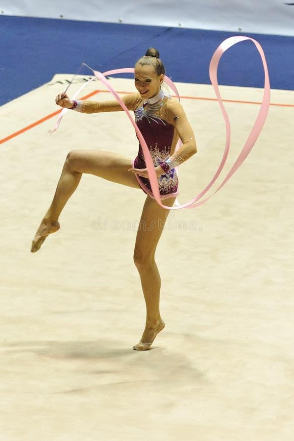 Anastasia Mishenina au championnat de l'Italien A1 image libre de droits