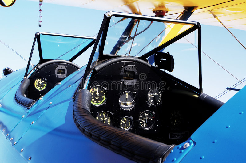 Anatique Cockpit. Detail of a cockpit of an antique aircraft on display at an airshow in Arizona royalty free stock photography
