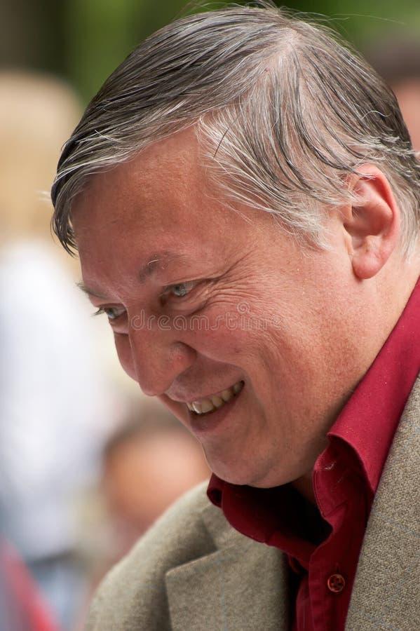 Anatoliy Karpov, campione del mondo sugli scacchi fotografie stock libere da diritti