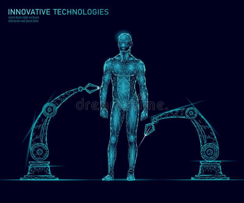 Anatomia do corpo humano do ajuste Tecnologia do superman da inovação da ciência de engenharia do ADN Clonagem da pesquisa da saú ilustração stock