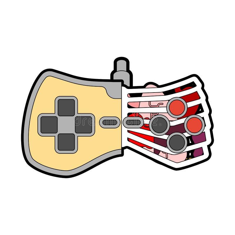 Anatomia do manche isolada Gamepad com órgão interno Controlador retro e ossos do jogo de vídeo ilustração do vetor