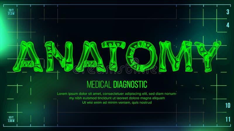 Anatomibanervektor optometriker för läkarundersökning för bakgrundsdiagramöga Genomskinlig röntgen- röntgenstråletext med ben Bil vektor illustrationer