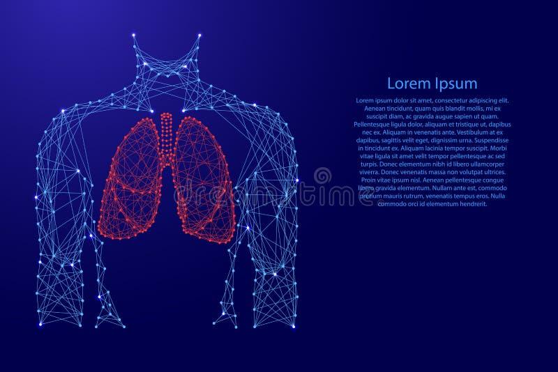 Anatomic organ för mantorsolungor inom vård- respiratoriskt system för medicin från futuristiska polygonal blålinjen och glödande vektor illustrationer