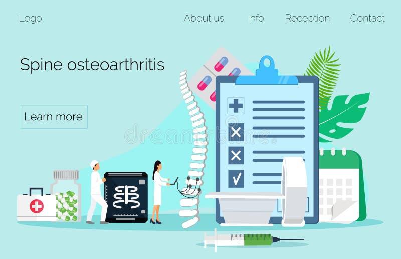 Anatomisk inbindningsosteoarthritis Ryggen smärtar, problem, scoliosis, skadan, brottet, patologi royaltyfri illustrationer