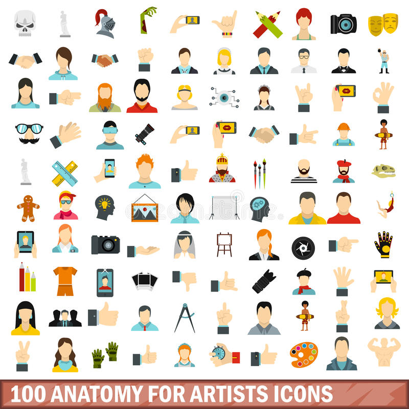 100 anatomy for artists icons set, flat style. 100 anatomy for artists icons set in flat style for any design vector illustration stock illustration