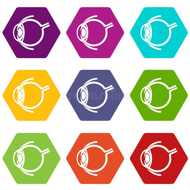 Anatomy of eye icons set 9 vector. Anatomy of eye icons 9 set coloful isolated on white for web stock illustration