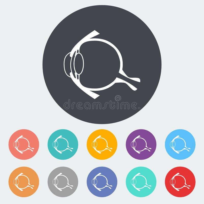 Anatomy eye. Single flat icon on the circle. Vector illustration stock illustration
