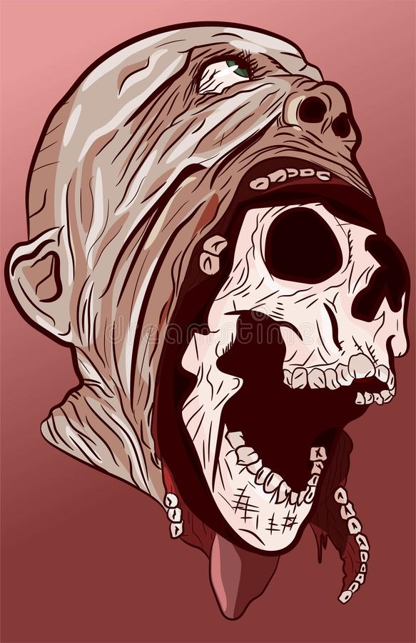 Anatomy head of skull coming out of face and skinn Halloween illustration. Horror ancient bone horrible decay decompose . Spooky grunge cranium dangerous vector illustration