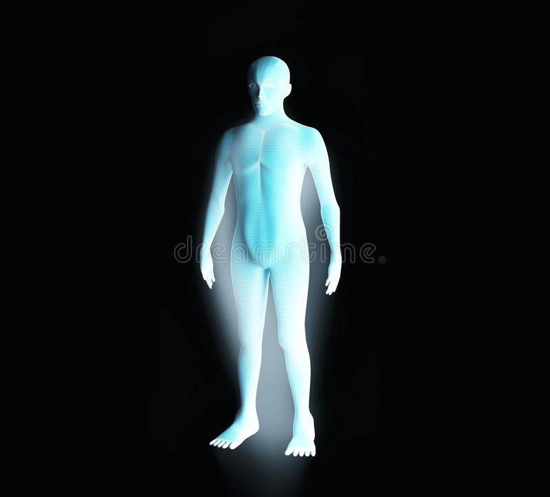 Anatomy of male muscular system. Blue human wireframe hologram. stock illustration