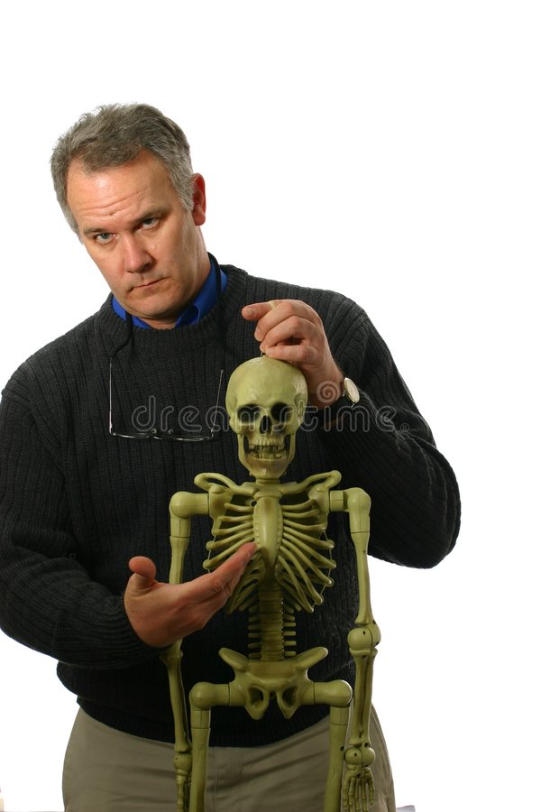 Download Anatomy Professor With Skeleton Stock Photo - Image: 4170878