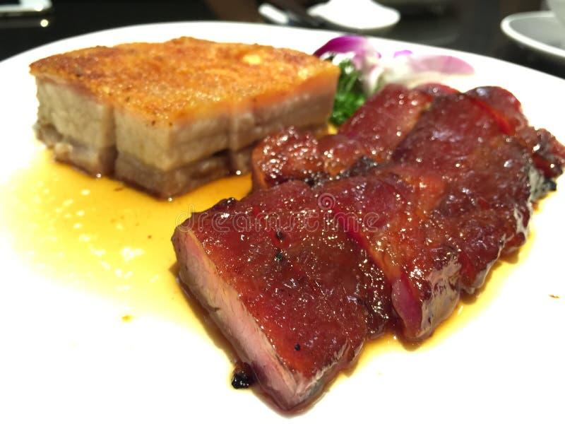 Anatra arrostita, yuk croccante arrostito e Charsiu del siu della carne di maiale immagine stock