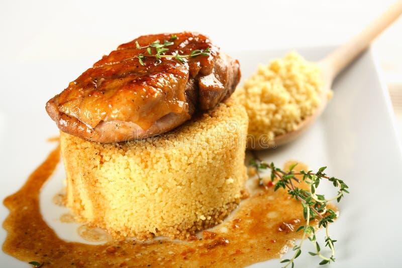 Anatra del forno servita con riso fotografia stock libera da diritti