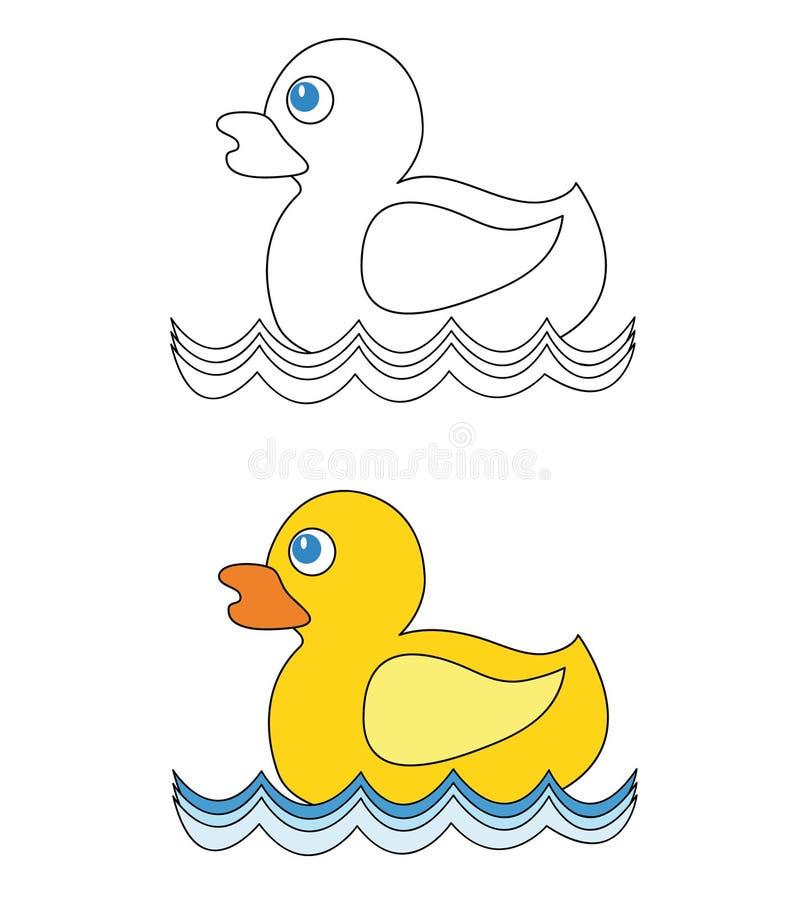 Anatra di gomma su acqua illustrazione di stock