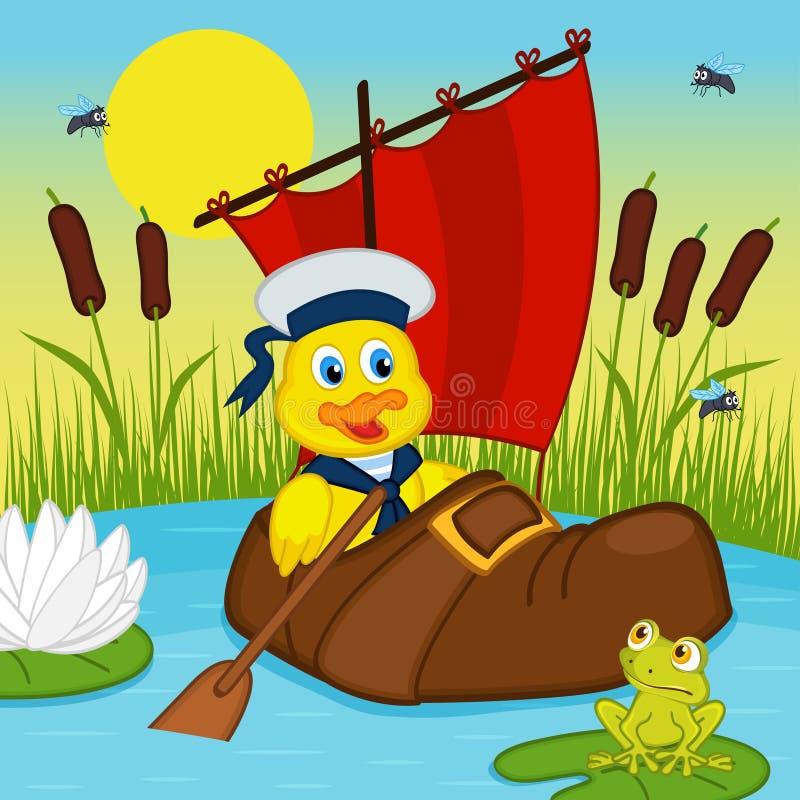 Anatroccolo che galleggia sul lago in stivale royalty illustrazione gratis