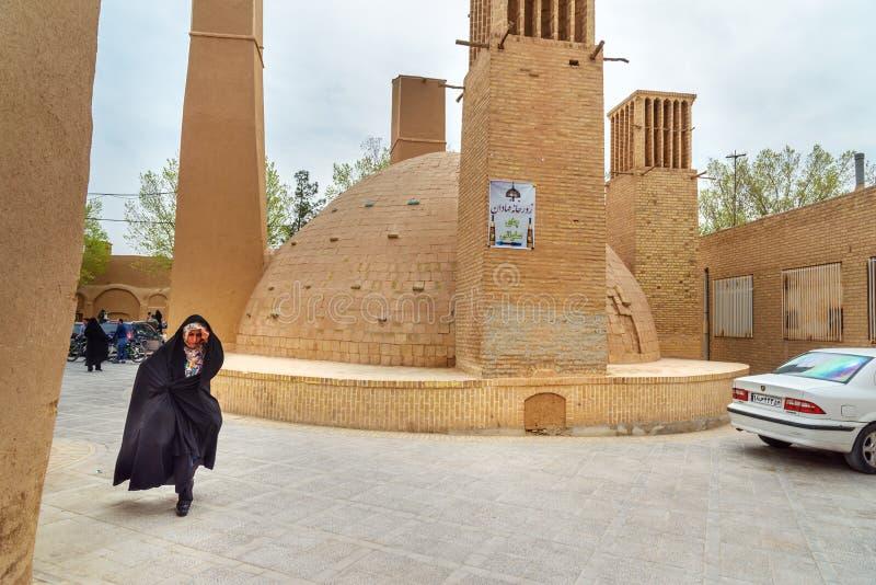 anbar的Ab是传统水库或储水池饮用水在亚兹德 伊朗 库存照片