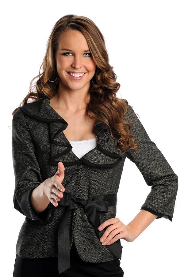 Anbietenhändedruck der Geschäftsfrau lizenzfreies stockbild