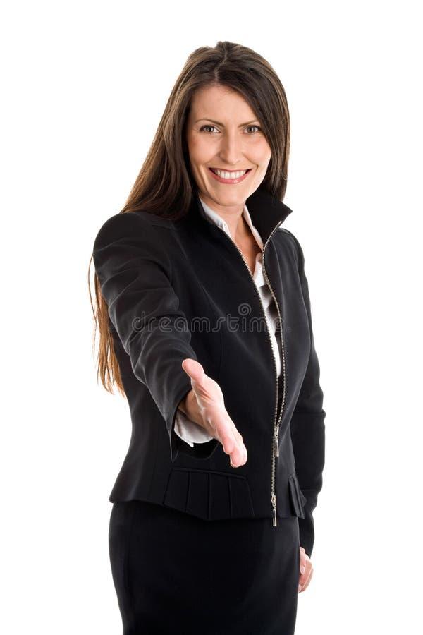Anbietenhand der Frau für Händedruck lizenzfreies stockfoto