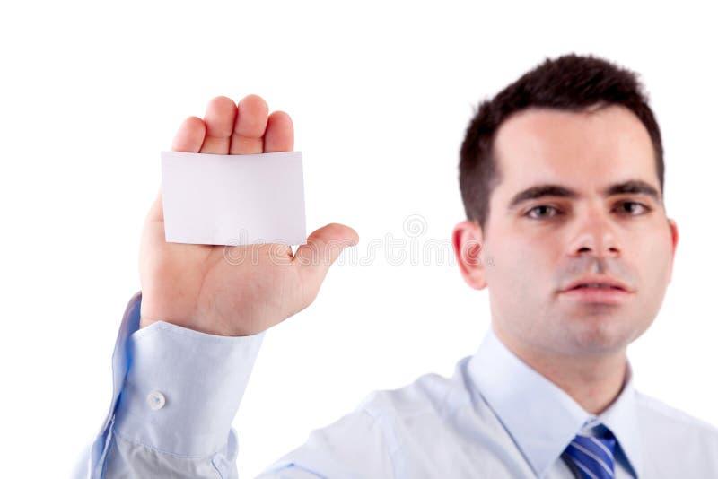 Anbietenkarte des Geschäftsmannes stockfoto