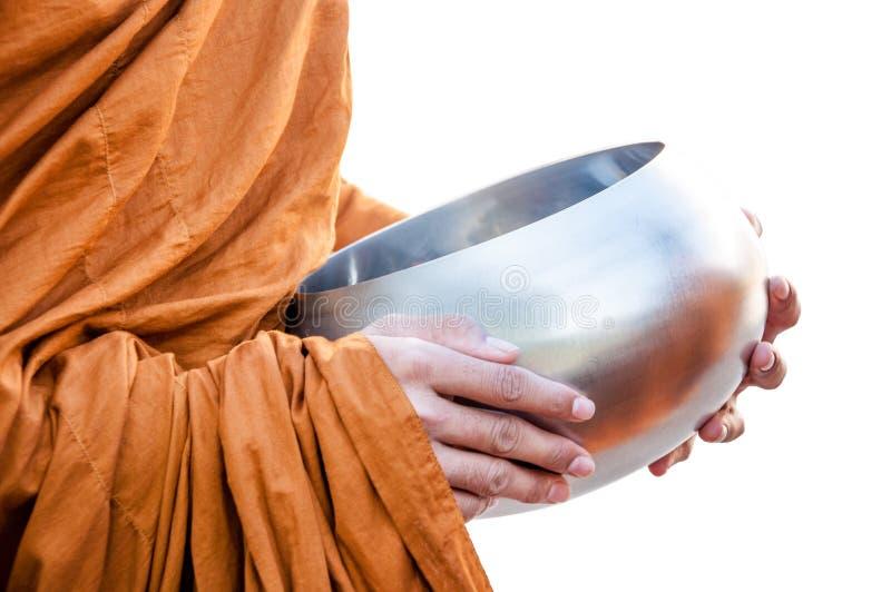 Nahrung, die einem Mönch anbietet stockbilder