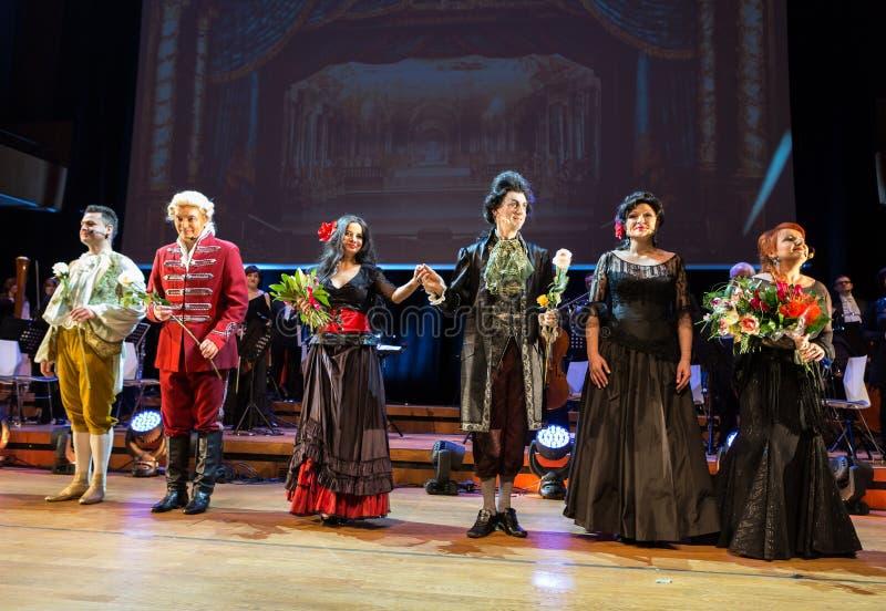 Anblick som presenterar Filharmonia Futura och M Walewska - operan är liv, royaltyfri bild