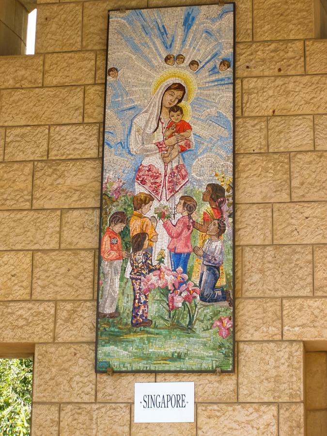 Anblick von Nazaret, ein Überblick über die Gebäude und die Anziehungskräfte von Nazaret nach innen, der Innenraum von Kathedrale lizenzfreie stockfotos