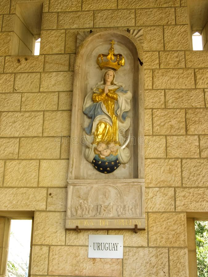 Anblick von Nazaret, ein Überblick über die Gebäude und die Anziehungskräfte von Nazaret nach innen, der Innenraum von Kathedrale lizenzfreies stockbild