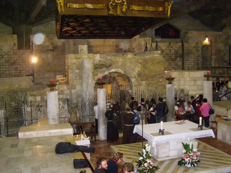 Anblick von Nazaret, ein Überblick über die Gebäude und die Anziehungskräfte von Nazaret nach innen, der Innenraum von Kathedrale lizenzfreie stockbilder
