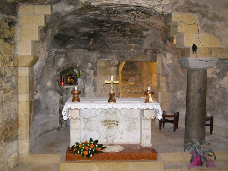 Anblick von Nazaret, ein Überblick über die Gebäude und die Anziehungskräfte von Nazaret nach innen, der Innenraum von Kathedrale stockbilder