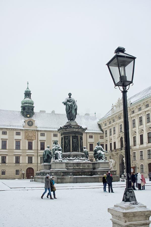Anblick von Wien, von Gebäuden und von Straßen der Stadt von Wien stockfotos