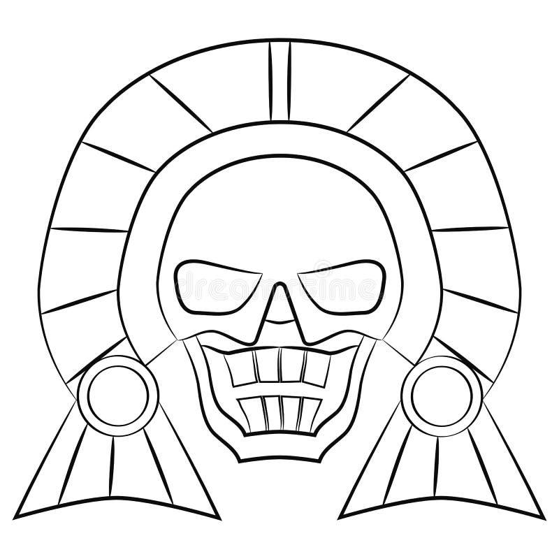 Ancêtres aztèques de masque noir et blanc du Mexique sur un fond blanc illustration de vecteur