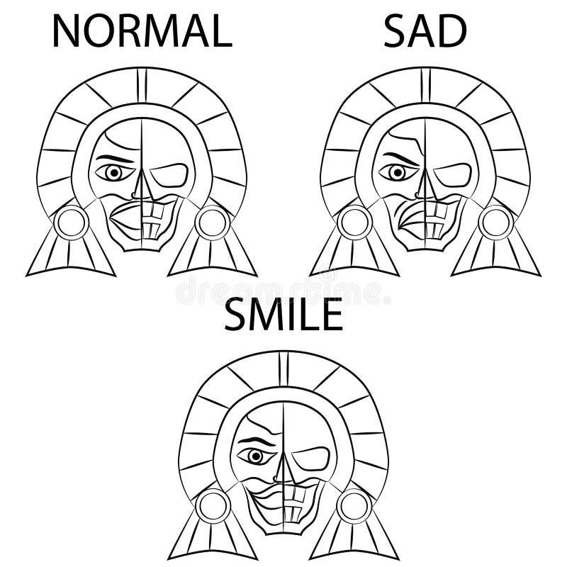 Ancêtres aztèques de masque noir et blanc du Mexique sur un fond blanc illustration stock