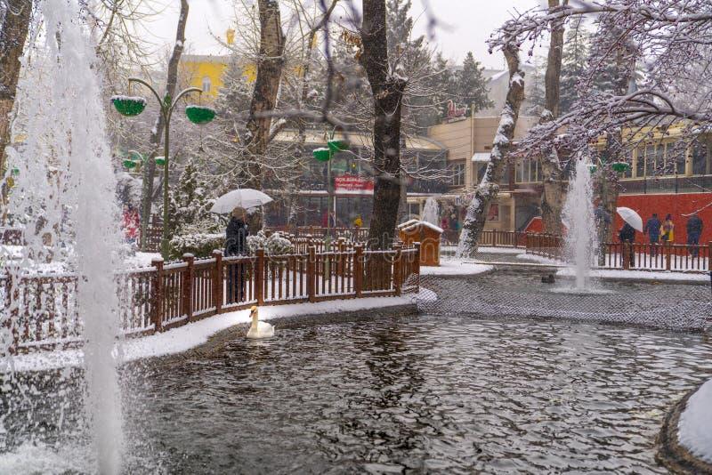 Ancara/Turquia 6 de dezembro de 2019: O parque de Kugulu é um lugar popular para apreciar o dia Parque de Kugulu sob a neve no in imagens de stock