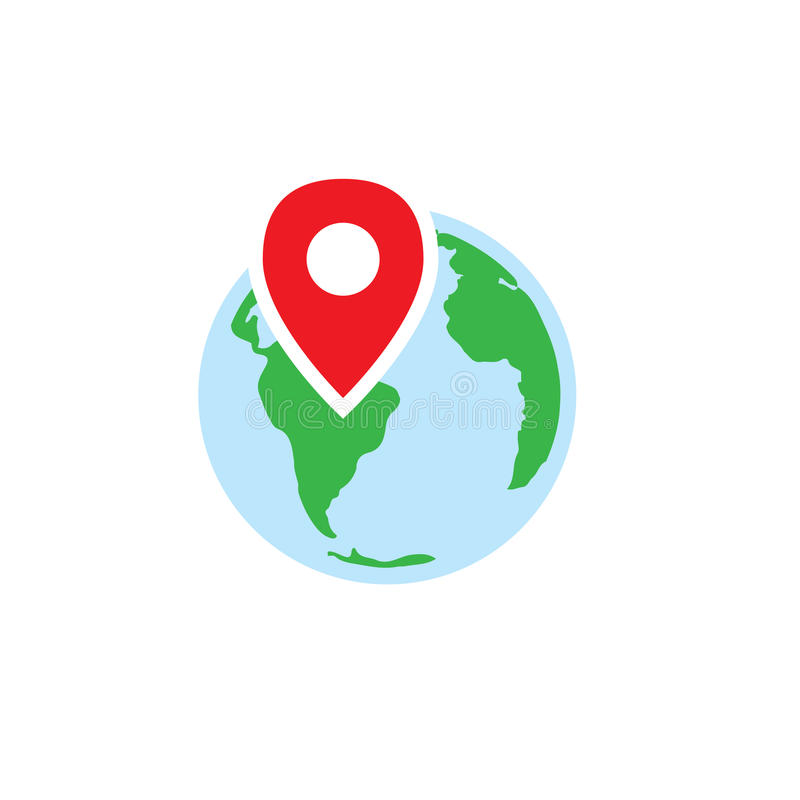 Ancestry or Genealogy Icon with Earth & pinpoint. Ancestry or Genealogy Icon w Earth & pinpoint stock illustration