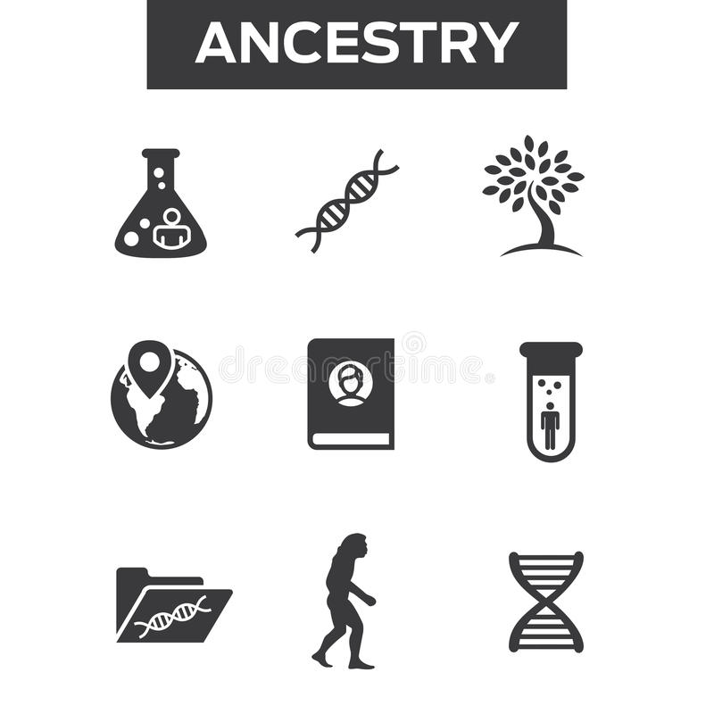 Ancestry or Genealogy Icon Set with Family Tree Album, DNA, beak. Ers, chemical family record, etc vector illustration