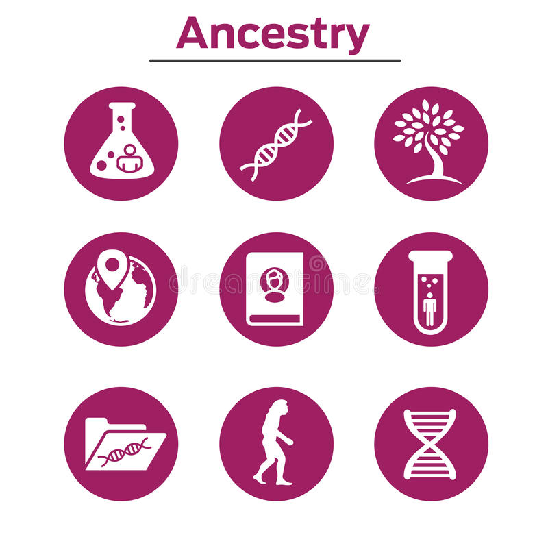 Ancestry or Genealogy Icon Set with Family Tree Album, DNA, beak. Ers, chemical family record, etc royalty free illustration