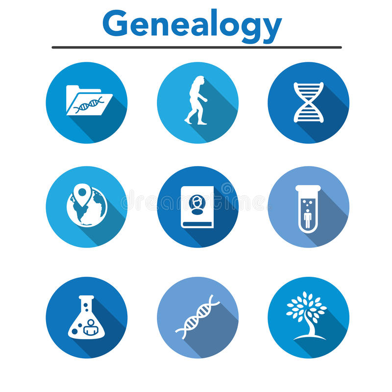Ancestry or Genealogy Icon Set with Family Tree Album, DNA, beak. Ers, chemical family record, etc stock illustration
